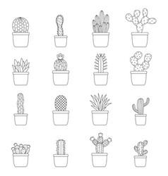 Set of cactus in pots vector