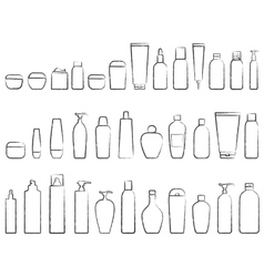 Set of cosmetic bottle silhouette vector