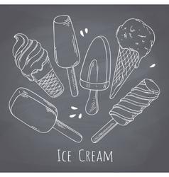 Set of hand drawn different ice cream Food design vector