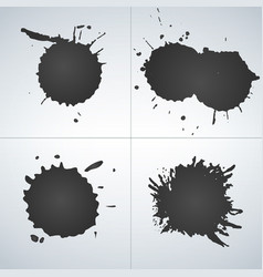 set of ink splashes ink blots splatter collection vector image