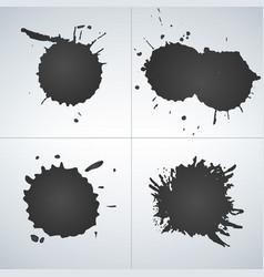 set of ink splashes ink blots splatter collection vector image