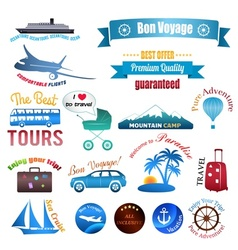 Set of labels badges and stickers on travel vector image
