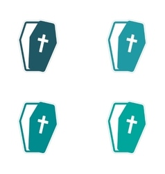 Set stickers bright coffins on white background vector image