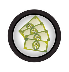 several banknote in circular frame vector image