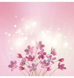 Shining pink flowers background vector