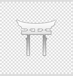 Silver japan gate isolated object vector