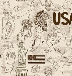 Sketch usa seamless pattern vector