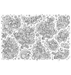sketchy hand drawn doodles cartoon set vector image