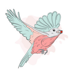 Small bird feeding with red berry autumn vector
