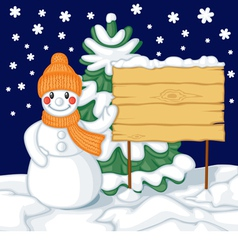 Snowman and billboard against the background of fi vector image