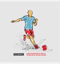 soccer striker outline soccer player vector image