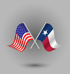 Two crossed american and flag of texas vector