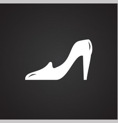 Wedding brides shoe icon on black background for vector