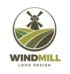Windmill farm logo design vector