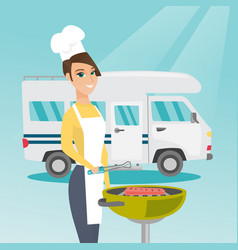 Woman barbecuing meat in front of camper van vector