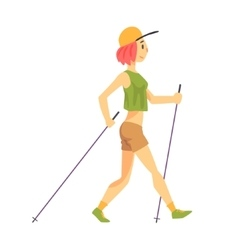 Woman In Green Top With Cap Doing Nordic Walk vector