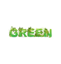word green with capital vector image