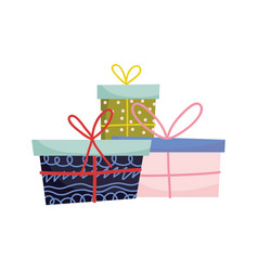 wrapped gift boxes celebration merry christmas vector image