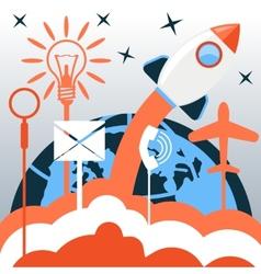 Business start up rocket idea vector image