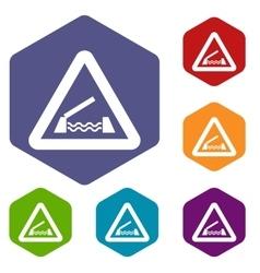 Lifting bridge warning sign icons set vector image