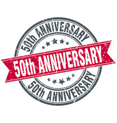 50th anniversary round grunge ribbon stamp vector image vector image