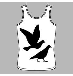 Going flying pigeons black silhouette singlet vector