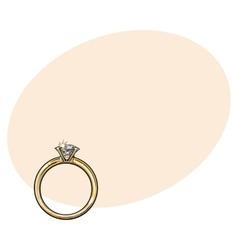 Golden engagement ring with a big shining diamond vector