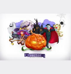 happy halloween pumpkin spider cat witch vampire vector image