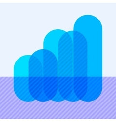 Infographics with rising blue overlapping bars vector image