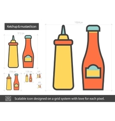 Ketchup and mustard line icon vector image vector image