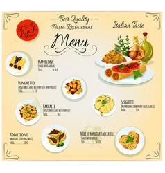 Pasta italian cuisine restaurant menu vector