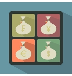 Set of Money Bags with currency symbols vector image