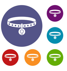 cat collar icons set vector image vector image