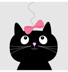 Cute cartoon black cat Card vector image