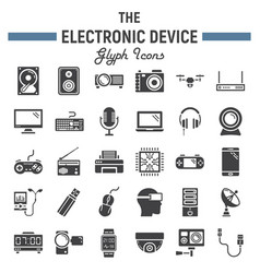 electronic device solid icon set technology vector image