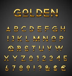 Golden alphabet set vector image
