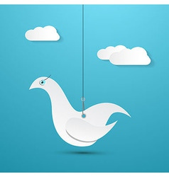 Paper Bird Hang on Rope with Sky and Clouds on vector image vector image
