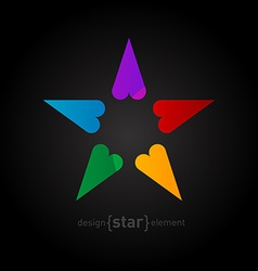 rainbow Star made of hearts on black background vector image vector image