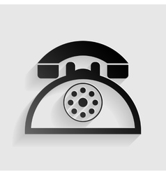 Retro telephone sign Black paper with shadow on vector image