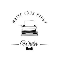 typewriter badge writer logo vector image