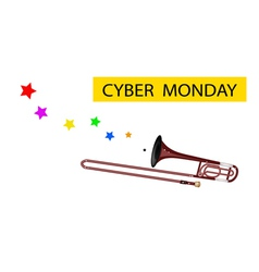 A Symphonic Trombone Blowing Cyber Monday Flag vector image vector image