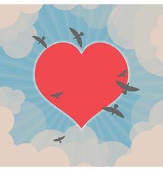 Birds flying around heart in the sky vector image vector image