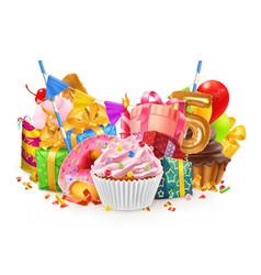 happy holiday cupcake gift box 3d vector image vector image