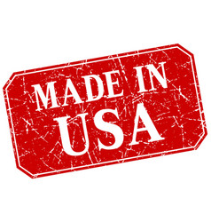 Made in usa red square grunge stamp vector