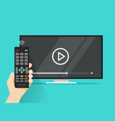 Remote control in hand near flat screen tv vector