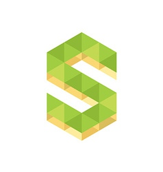 S letter logo template Nature colors vector image