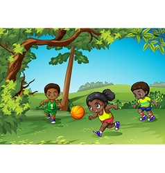 Three kids playing ball in the park vector image