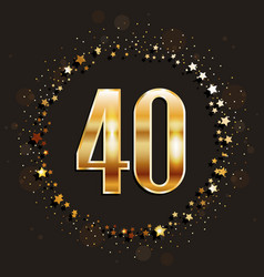 40 years anniversary gold banner vector