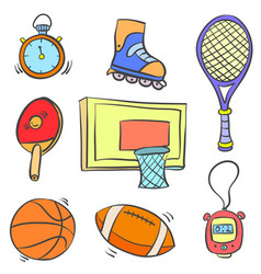 Art of sport object various doodles vector