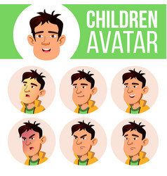 asian boy avatar set kid high school face vector image